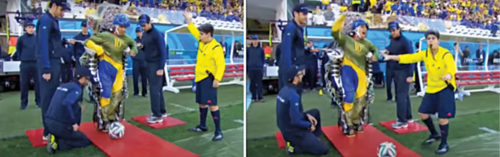 2014 FIFA World Cup: Juliano Pinto, paralysed from his chest down is making his first kick in the opening ceremony with the help of exoskeletons