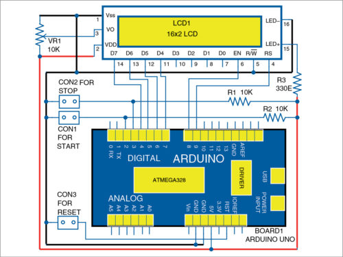 Schematic diagram of the timer kit