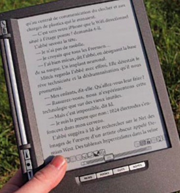 Fig. 1: e-paper based e-book reader visible in the sunlight (Credit: wikipedia.org)
