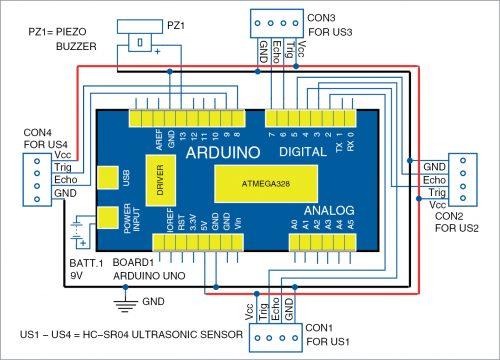 Circuit diagram of social distancing alarm