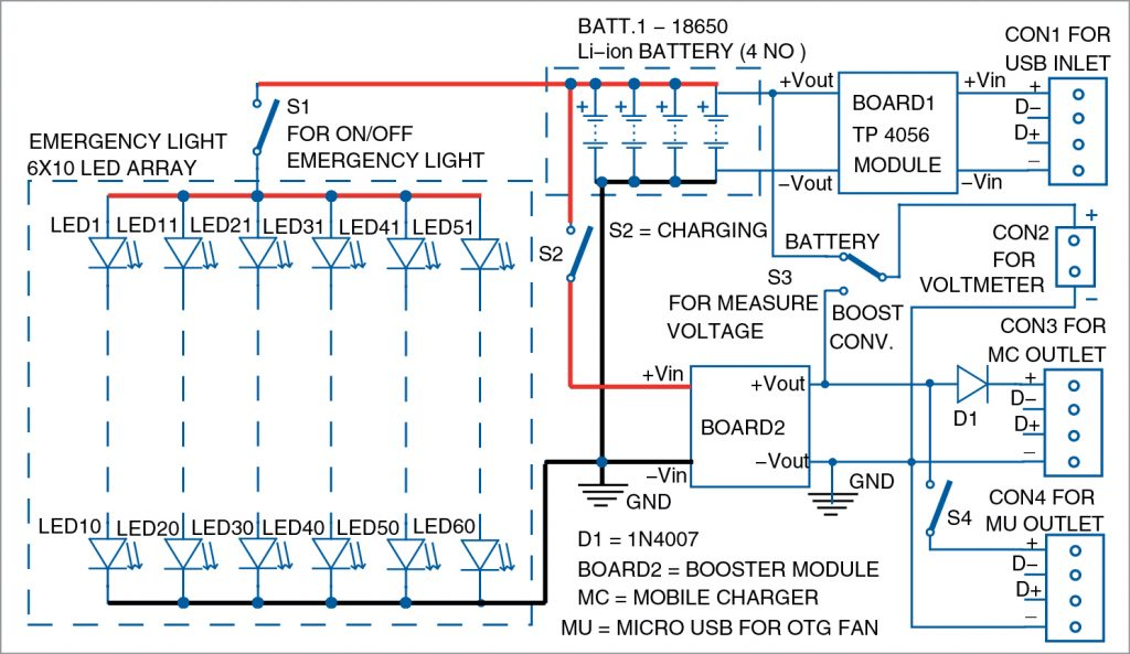 Circuit diagram of the emergency light with power bank and OTG fan driver