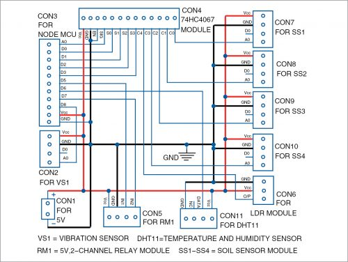 Circuit diagram of the smart agriculture system