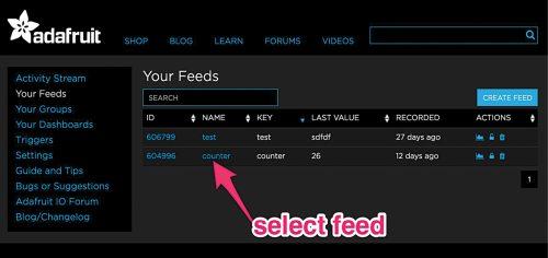 Feeds window on Adafruit IoT platform