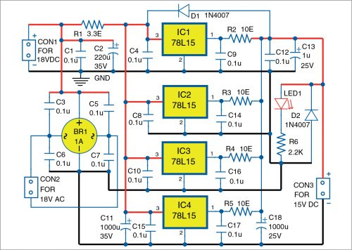 Circuit diagram of low-noise power supply with four voltage regulators