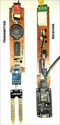 Authors' prototype of the transmitter and receiver units for Smart Irrigation System