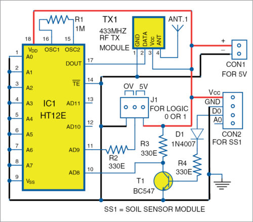 Circuit diagram of transmitter for for Smart Irrigation System