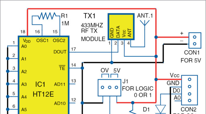 Circuit diagram of transmitter for Smart Irrigation System