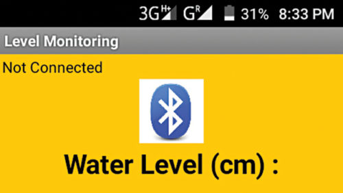 Screenshot of the Android application for Liquid Level Monitoring System
