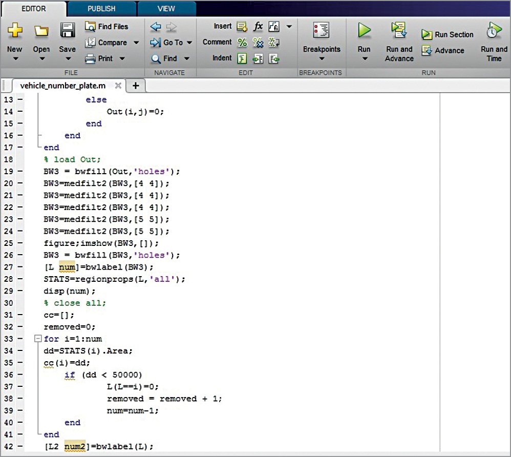 Screenshot of MATLAB editor window