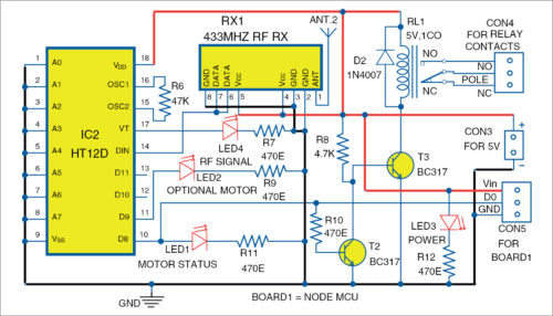 Circuit diagram of the receiver for Smart Irrigation System