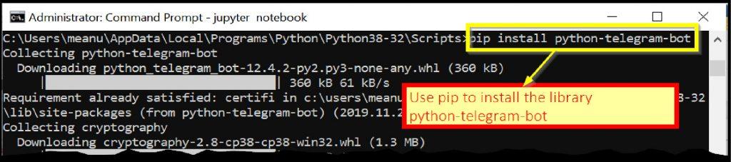 Downloading the Python library python-telegram-bot