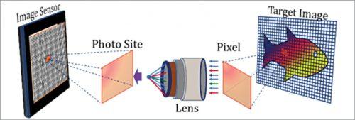 Image sensor comprises a large number of squares called photo sites
