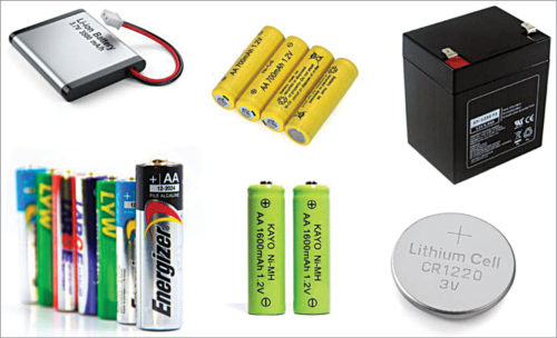 Different types of batteries based on chemistries (Credit: https://components101.com)