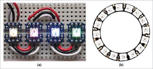 Two types of NeoPixel LED strings: (a) matrix type, (b) ring type