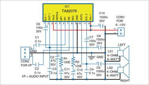 Circuit diagram of the amplifier