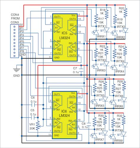 Sensor circuit of the line follower