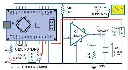 Circuit diagram of motion sensor alarm