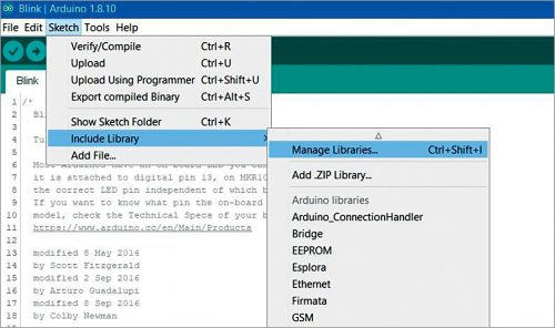 Manager Libraries in Arduino IDE