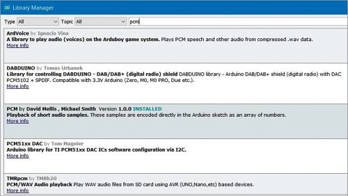 Search PCM library from Library Manager