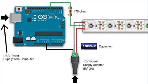 Connection diagram of NeoPixel addressable LEDs using Arduino