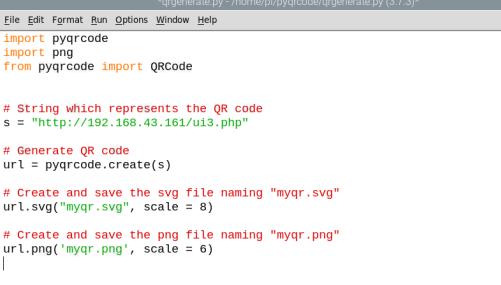 Code for generating QR Code