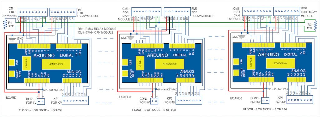 Circuit diagram of CAN bus for a multistory building