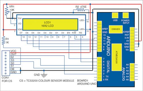 Circuit diagram for colour identification