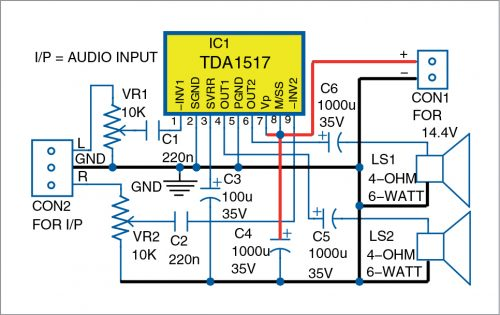 Circuit diagram of stereo AF amplifier