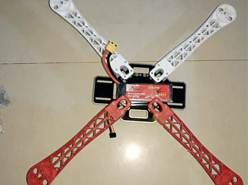 Four arms of quadcopter attached to the central frame