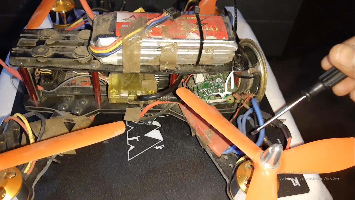 ESC and motors fixing on arm of drone.