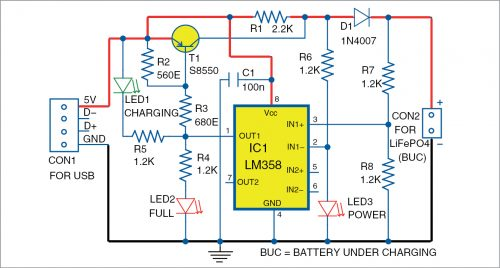 Circuit diagram of the little LiFePO4 battery charger