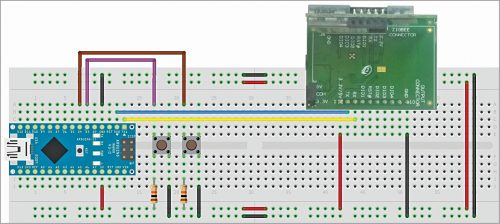 Transmitter circuit wired on a breadboard