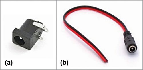 (a) DC jack for PCB, (b) DC socket with wires