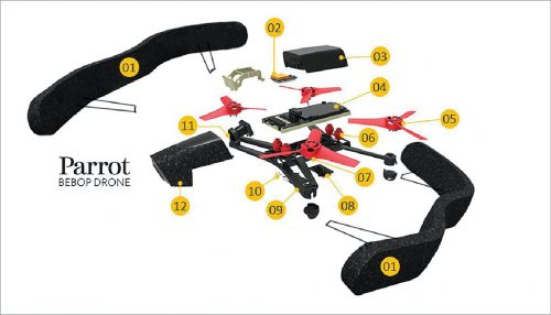 An exploded view of a drone