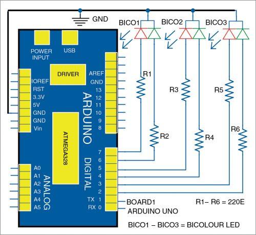 Tricolour LED nameplate circuit