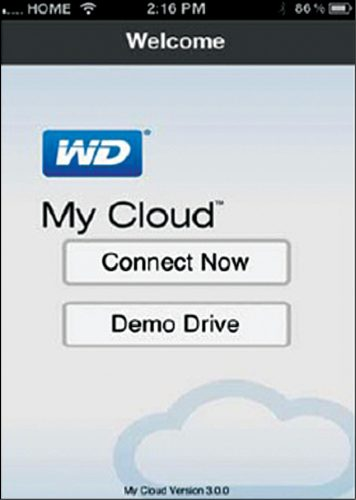WD My Cloud welcome screen