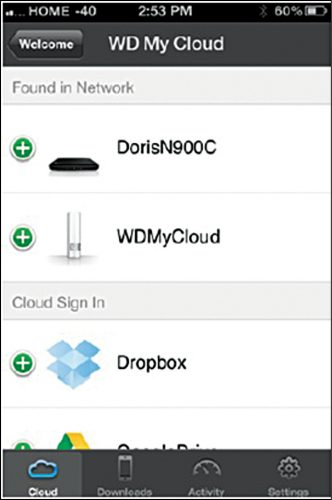 WD My Cloud app showing connected devices