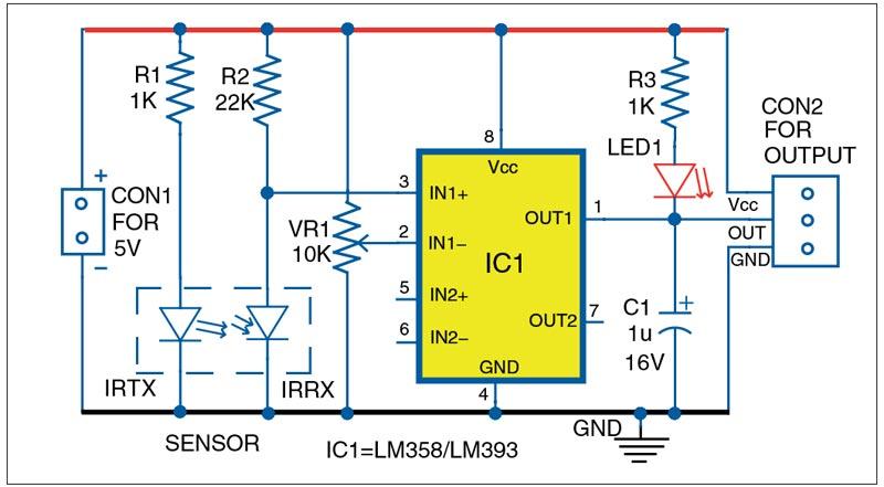 Internal circuit diagram of Opto coupler type speed sensor module (FC-03)