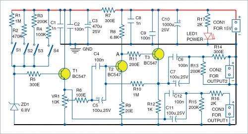 Circuit diagram of the white noise generator