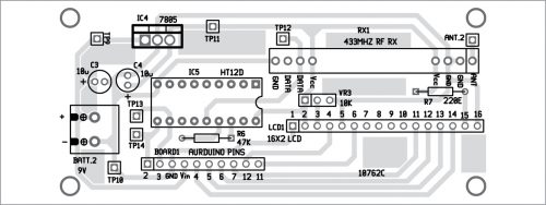 Components layout of the receiver PCB
