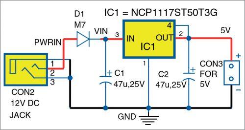 Internal power supply circuit of Arduino