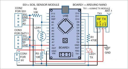 Circuit diagram of a wireless sensor node