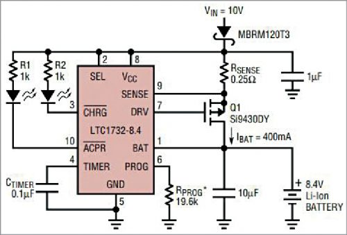 Battery charger with bypass capacitor across output terminals