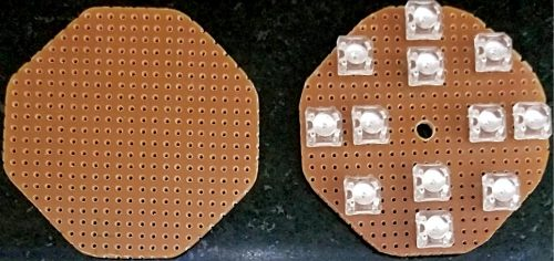 PCBs for mounting daylamp LEDs (outer 8) and joule thief LEDs (inner 4)