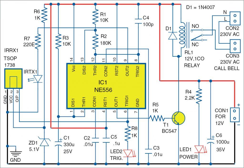 Circuit diagram of touchless doorbell