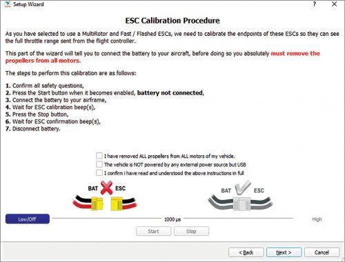 ESC calibration procedure window
