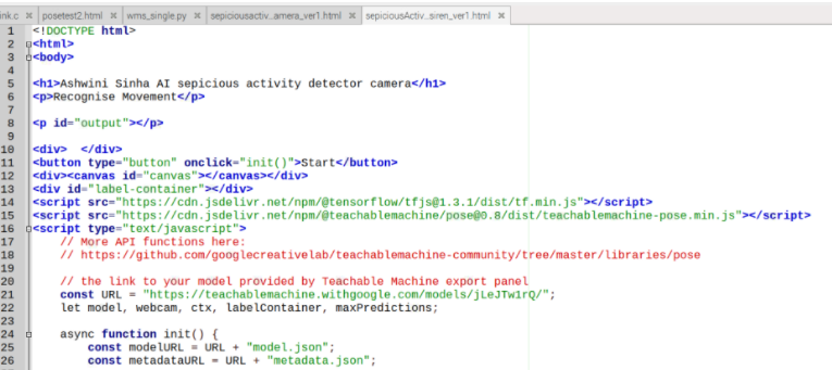 Fig 3.Code snippet for human activity tracking camera