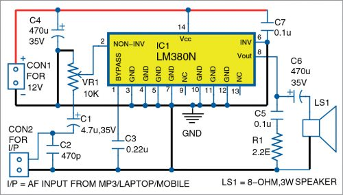 Circuit diagram of the Single-Channel Audio Amplifier