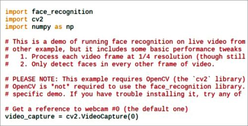 Python code for face recognition