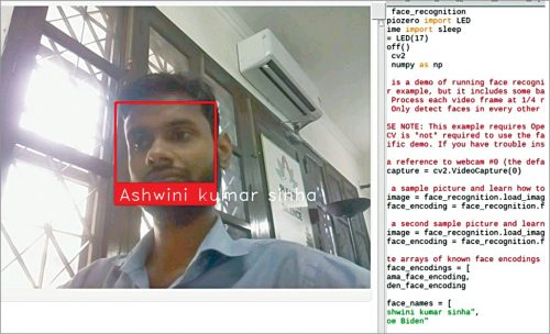Face detection with name being displayed on the computer screen